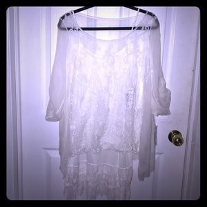 Sheer white over spaghetti strap slip dress. NWT